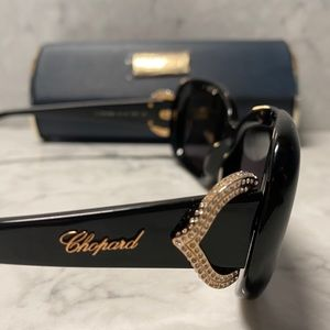Chopard Black Sunglasses with Crystal Accent